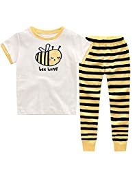 "CNBABY ""The Bee"" Toddler Boys Pajamas Stripe Sleepwear Shorts and Long Pants"