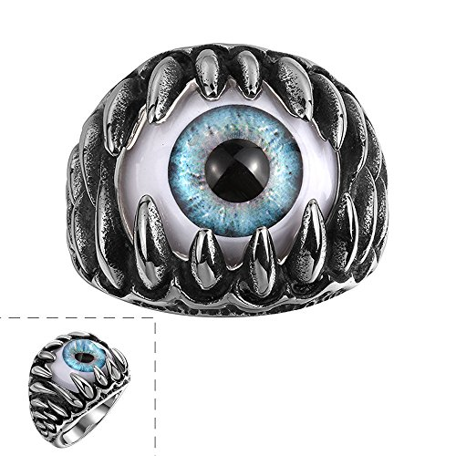 Efloral Vintage Templar Stainless Steel Skull Ring for Men and Women, Blue (Ear Isolator)
