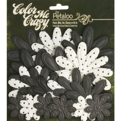 Petaloo Color Me Crazy Flower Layers for Scrapbooking, 1.5-Inch to 3.25-Inch, Embossed Daisies Chalkboard, 18-Pack