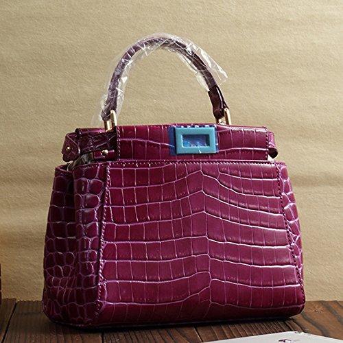 Mefly Nuevo Bolso De cuero cuero superior Mini hombro bolsa cruzada Himalaya blanco Violet