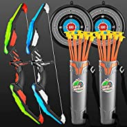 SHINGO 2 Pack Set Kids Archery Bow Arrow Toy Set Outdoor Hunting Play with 2 Bow 20 Suction Cup Arrows 2Target