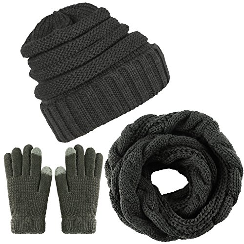 Aneco Winter Warm Knitted Scarf Beanie Hat and Gloves Set Men & Women
