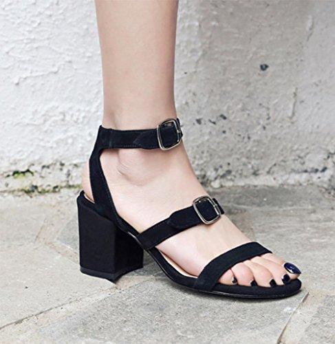 punta verano de con cinturón de del sandalias gruesas tacón de abierta La alto hebilla sandalias Sra black las de sandalias mujeres con la tqwgAP