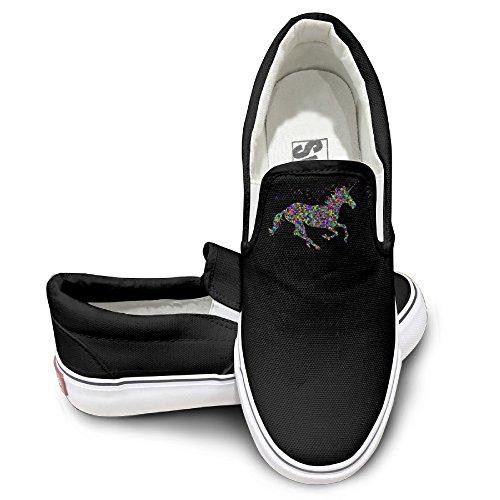 [EWIED Unisex Classic Rainbow Unicorn Slip-On Shoes Black Size40] (J Valentine Unicorn Costume)