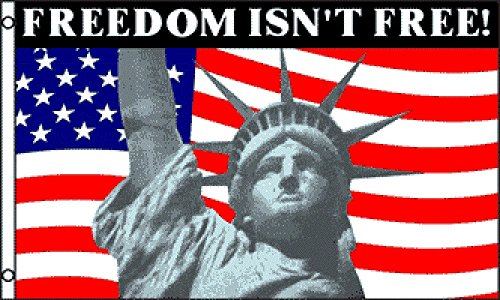 Freedom Isn't Free Statue of Liberty 5'x3' Banner Flag by 1000 Flags