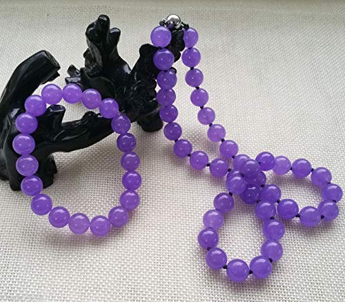 Purple Pendant Jade Beautiful (FidgetKute Fashion Beautiful 10MM Lavender Purple Jade Necklace 22inch & Bracelet Jewelry)