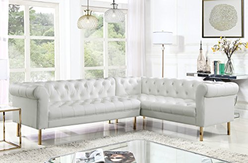 Iconic Home Giovanni Right Facing Sectional Sofa L Shape PU Leather Upholstered Button Tufted Roll Arm Design Solid Gold Tone Metal Legs, Modern Transitional, Cream