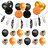Halloween Party Kit Skull Confetti Balloons Feather Banner Party Home Decor Paper Flower Pompom Set