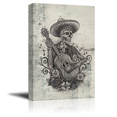 Print Day of The Dead (Dia De Los Muertos) Themed Art Skull Playing Guitar