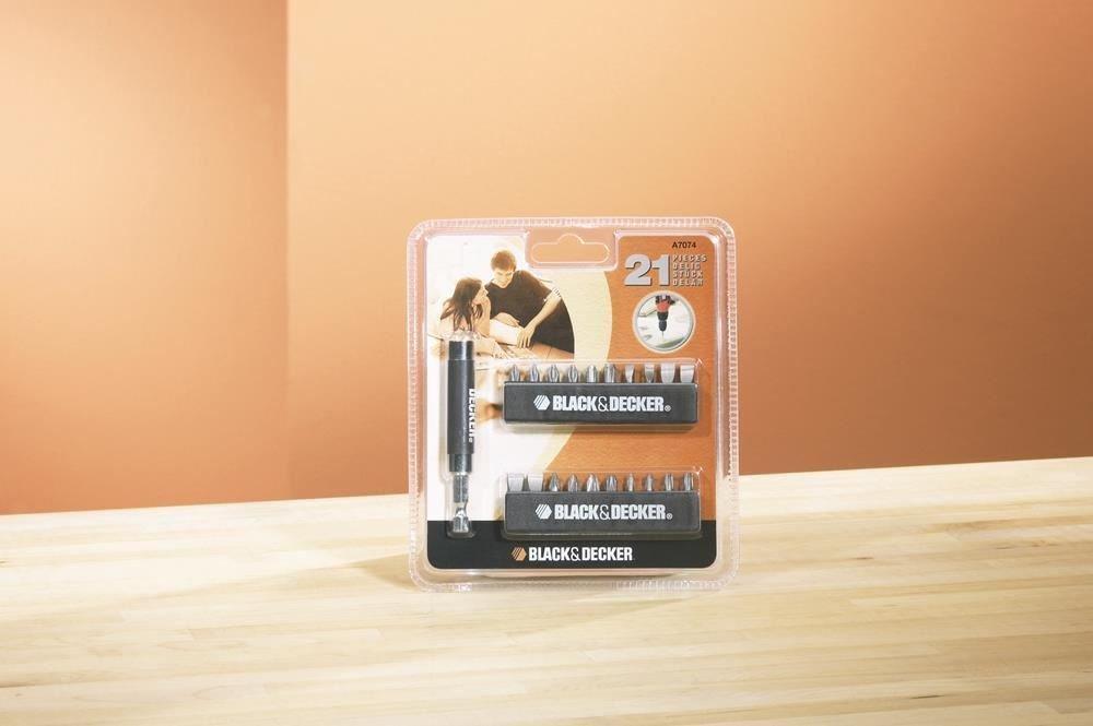 Black & Decker A7074-XJ 21 Piece Screwdriver Bit Set + Bit Holder ...