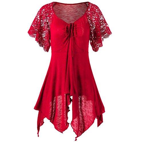 CUCUHAM Women Bandage High Waist Short Sleeve Lace Floral Patchwork Irregular Mini Dress (XXL, Red)