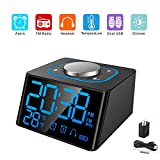 Aoyusen Small Alarm Clock Radio with FM Radio,Dual USB Charging Ports,Temperature Display,Dual Alarms with 27 Alarm Sounds,5 Level Brightness Dimmer,Headphone Jack,Bedrooms Sleep Timer