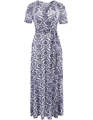 (Aphratti Women's Bohemian Short Sleeve V Neck Long Beach Wrap Maxi Dress XX-Large Blue)