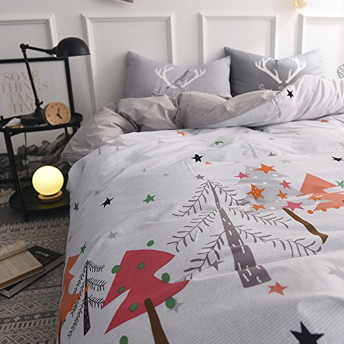 Bulutu Star Kids Bedding Cover Set Full Queen White Grey