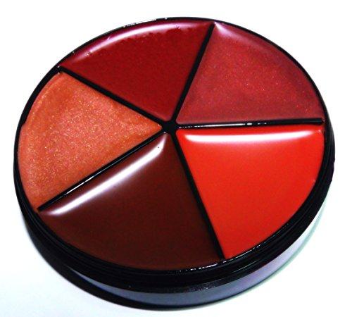 Pure Ziva 5 Shades of Dark Brick Red, Nude, & Cool & Warm Chocolate Brown Lipstick Carousel Palette, Paraben Free, No Animal Testing & Cruelty Free