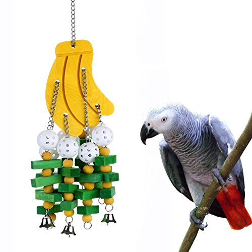 Hypeety Parrot Hanging Swing Toy Bells Chew Toy Colorful Hanging Wood Block Parrot Macaw African Greys Cockatiels Budgies Conure Banana Shape Natural Birds Cage Hanging -