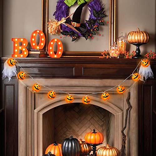 WmBetter Pumpkin String Lights Detachable Polyester Halloween Pumpkin Lanterns with 10 LED lights for Halloween Decoration by Wmbetter (Image #8)