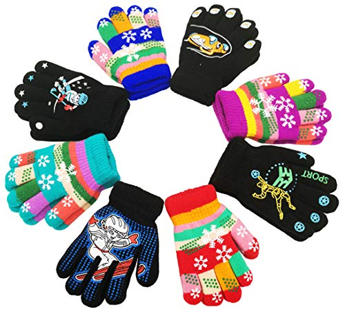 Children Warm Magic Gloves 8 Pairs, Kids Full Finger Knitted Stretchy Anti-slip Winter Glove for Boys and Girls (6 to 12 Years (Anti-Skid, Thick))
