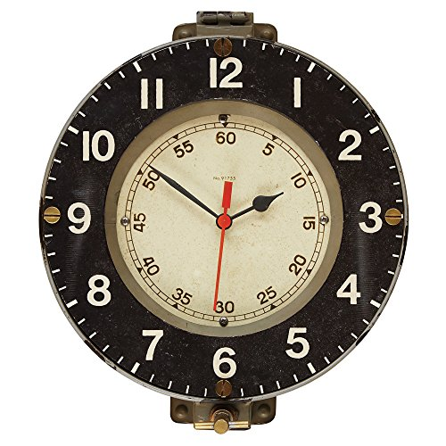 Pendulux Marine Decorative Wall Clock, Vintage Unique Wall Clock for Outdoor and Home Decor, Gray - 13 diameter