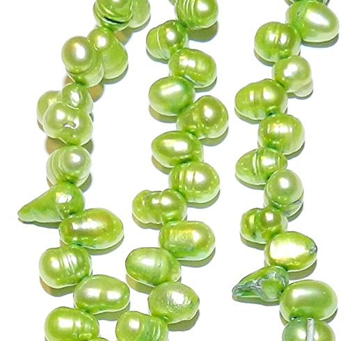 (Spring Green 7mm Top-Drilled Rice Cultured Freshwater Pearl Beads 7#ID-7097)
