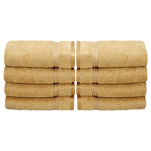 8-Piece Hand Towel Set, 100% Premium Long-Staple Combed Cotton, Gold