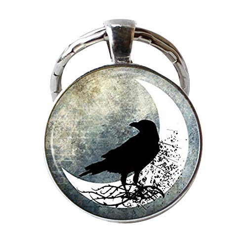 Vintage Raven Keychain, Spooky Black Bird in Half Moon Art Jewellery