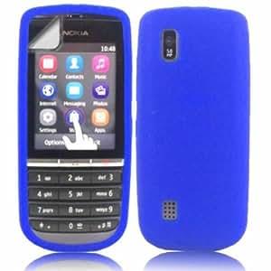 Silicona Caso Cubrir Concha Y Protector De Pantalla Para Nokia Asha 300 / Blue