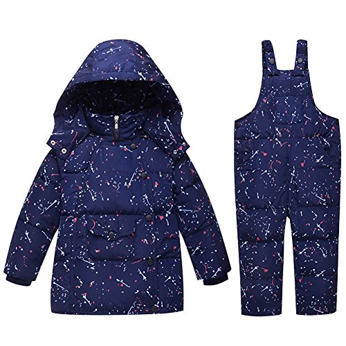 (Baby Boy Girl Down Snowsuit - Winter Warm 2 Pieces Toddler White Duck Down Jacket and Bib Pants Sets (1.5-2.5Years, Navy))