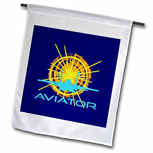 3dRose Alexis Design - Transport - Aviator. Sun, aircraft silhouette, text aviator. Dark blue background - 12 x 18 inch Garden Flag - Silhouette Aviator