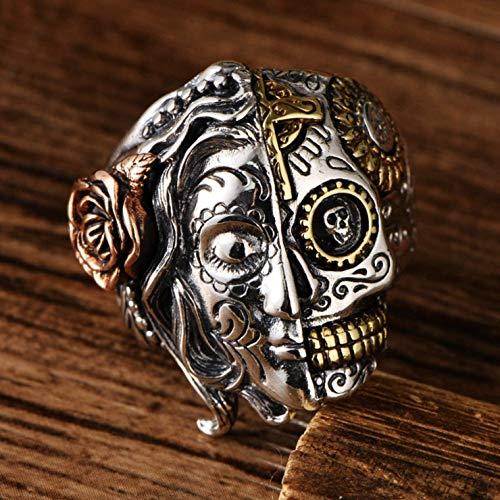 925 Sterling Silver Half Face Sugar Skull Ring For Men Women, Vintage Biker Ring, Gothic Skull Ring Sterling Silver, Handmade Candy Skull Ring For Men, Punk Style, Size 7.5-12]()