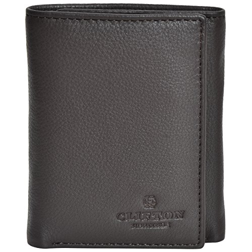 RFID Leather Trifold Wallets for Men- Handmade Slim Front Pocket Men's Wallet 6 Credit Card Holder with ID Window by Clifton Heritage (Image #3)
