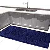 MAYSHAG 24 x 54 Inches Bath Rugs Long Bath Mat Chenille Bath Runner Rug with Water Absorbent Soft Microfibers Shower Rug Navy Blue
