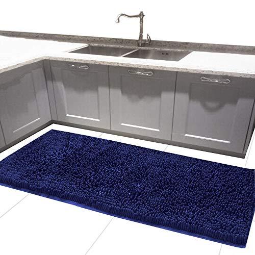 MAYSHAG 24 x 54 Inches Bath Rugs Long Bath Mat Chenille Bath Runner Rug with Water Absorbent Soft Microfibers Shower Rug Navy Blue