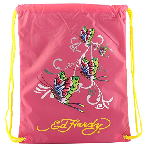 Ed Hardy Drew Drawstring Glitter Butterfly Bag -Hot Pink ()