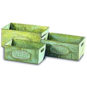 The Farm Fair GARDEN Galvanized Zinc Planters, Set of 3, Rectangle Containers, Vintage Style, Green Rusty Patina, Raised Oval Logo, 15 ¾, 14 1/4, and 13 Inches Long, By Whole House Worlds