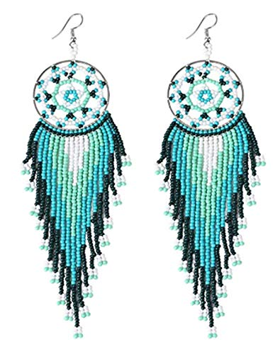 Bead Earrings Dangle Long Dream Catcher Earring for Women Girls Japan Seed Bead,Fringe Dangle Earring
