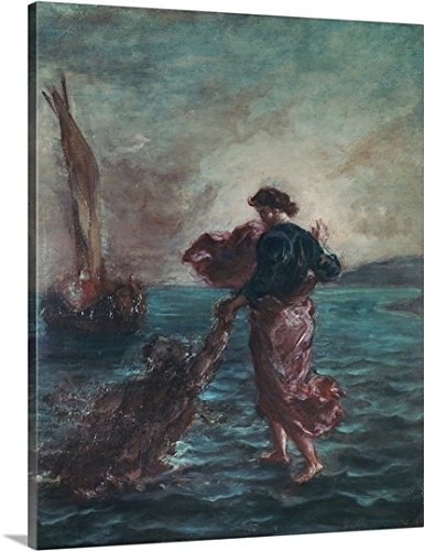 Eugene Delacroix Gallery-Wrapped Canvas entitled Christ walking on water and reaching out his hand to save Saint Peter by greatBIGcanvas