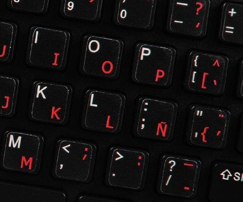 Pegatinas teclado español transparentes con letras NEGRO: Amazon.es: Electrónica