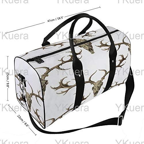 ホワイトピーコクエットにスカルリーセピアを掘る1 旅行バッグナイロンハンドバッグ大容量軽量多機能荷物ポーチフィットネスバッグユニセックス旅行ビジネス通勤旅行スーツケースポーチ収納バッグ