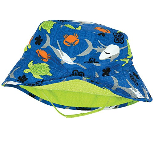 Fish Sun Hat - Sealife Baby Boy Sun Hat, Reverses to Lime Green, by Sun Smarties - X-Small