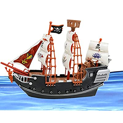 """SN Incorp. Pirate Boat for Kids Pirate Gifts, Prizes, and Pirate Parties - 10"""" Pirate Ship Toy Playset: Toys & Games"""
