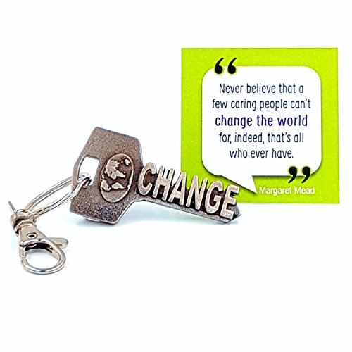 key2Bme CHANGE THE WORLD key - world globe keychain & inspirational quote - the cute cool fun unique small volunteer appreciation thank you gift under $10 for giving teen friends women teacher