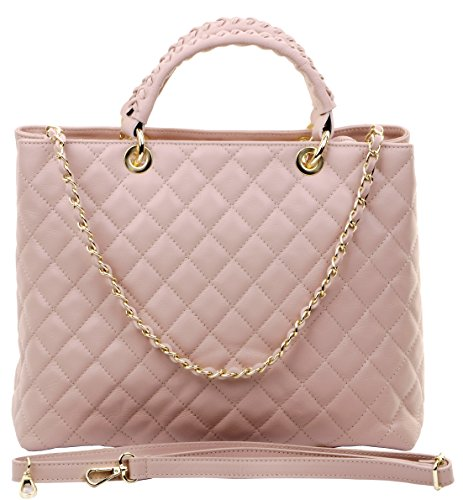 Primo Sacch Italian Quilted Leather Pink Hand Made Large Shoulder Bag Handbag ()