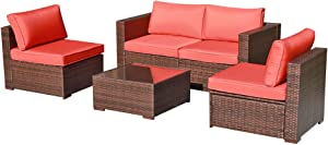 OC Orange-Casual 5 Piece Patio Furniture Set All-Weather Outdoor Small Sectional Sofa Set Weaving Wicker Couches with Glass Table, Brown Rattan, Orange Cushion