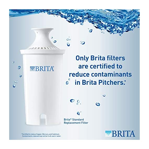 """Brita Small 5 Cup Metro Water Pitcher with Filter - BPA Free 6 SMALL WATER PITCHER: This small, plastic water filtration pitcher is easy to pour and refill. The space efficient pitcher fits perfectly on refrigerator shelves and is great for families. Height 9.8""""; Width 4.45""""; Length/Depth 9.37""""; Weight 1.39 pounds CLEANER AND GREAT TASTING: The BPA free Brita filter reduces chlorine (taste and odor), copper, mercury, zinc and cadmium impurities found in tap water for cleaner great tasting water. *Substances reduced may not be in all users' water FILTER CHANGE REMINDER: For optimum performance, a helpful status indicator on your filtered water pitcher notifies you when your water filter needs to be replaced"""