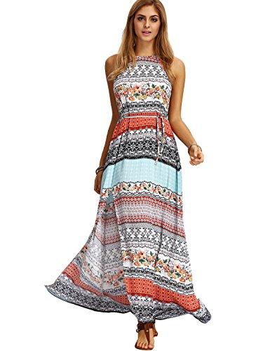 Geometric Print Sleeveless - Floerns Women's Boho Floral Geometric Print Sleeveless Halter Split Maxi Dress Multi L