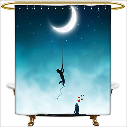 Amazoncom Shower Curtain Spa Boy Climbing To The Moon With Rope