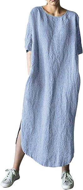 Shallood Kleider Damen Lang Sommer Elegant Strandkleid Kurzarm Rundhalsausschnitt Baggy Kaftan Casual Lose Maxi Kleider mit Taschen