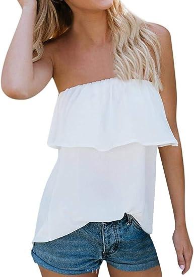 Blusa Elegante Moda Mujer Camisas Verano Chiffon Bandeau ...