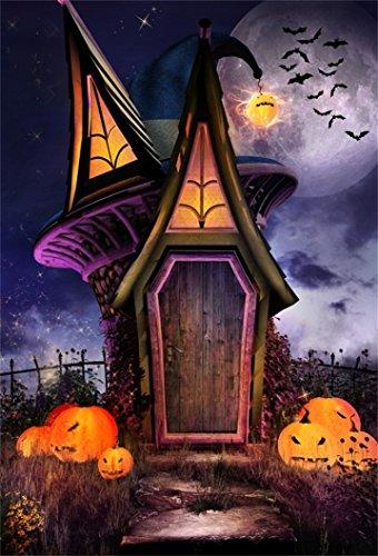 AOFOTO 5x7ft Scary Halloween Backdrop Gloomy Moon Night Cabin Grimace Pumpkin Bat Photography Background Kid Child Girl Boy Artistic Portrait Photo Shoot Studio Props Video Drop Vinyl Wallpaper Drape -
